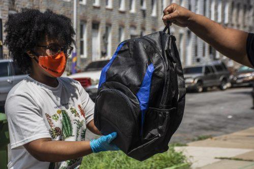 azure handing off backpack